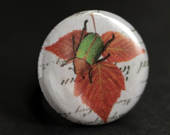 Green Beetle Ring. Insect Ring. Bug Ring. Nature Ring. Entomology Ring. Graphic Button Ring. Bronze Ring. Adjustable Ring. Handmade Ring.