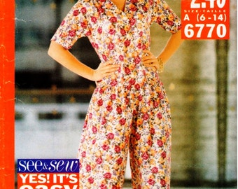 Vintage UNCUT Butterick See & Sew Pattern 6770 - Very Easy Jumpsuit - 6-14