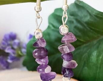 Dangle Earrings / Drop Earrings / Amethyst Earrings / Purple Earrings / Gemstone Earrings / Amethyst Crystal / Crystal Jewelry / Healing