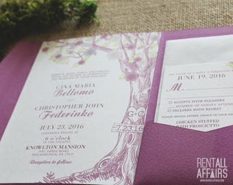 Pocket Fold Tree Wedding Invitations