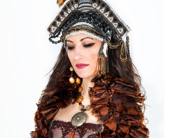 Fantasy Pirate Goddess Beaded Crown Steam Punk Burlesque Carnival Headpiece With Mother-Of-Pearl Necklace And Earrings READY TO SHIP
