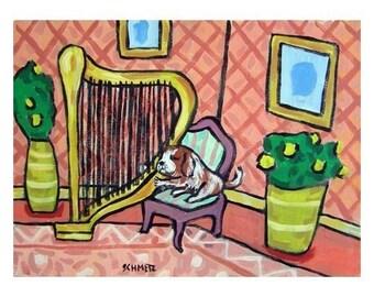 Cavalier King Charles Spaniel Playing the Harp Art Print