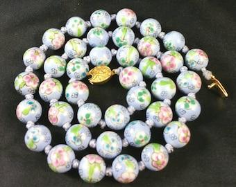 Lavender Enamel Bead Necklace Unsigned