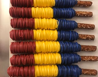 Colorful Drizzled Chocolate Dipped Pretzels | Red Yellow and Blue Chocolate Pretzels