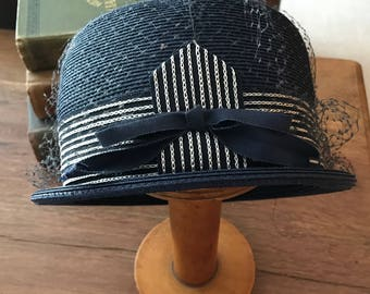 Vintage Retro Ladies Navy Blue Tafeta, Straw Hat with Net and Ribbon, Cedarbrook