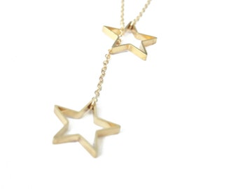 Twinkle Star Lariat Necklace , Golden Necklace, Two Stars Necklace, Y style Pendant, Double Stars Necklace, Star Pendant