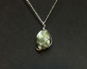 Wire Wrapped Tree Agate Stone Necklace