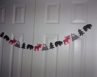 Moose, Bear, Mountain, Tree Garland - Red, Black, Medium & Charcoal Grey Cardstock Paper - Baby Shower, Birthday Party Banner Hanging Decor
