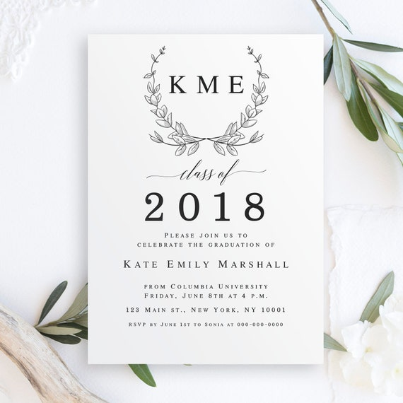 Monogram graduation invitation template graduation celebration filmwisefo