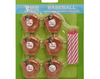Baseball Candle Holders & Candles