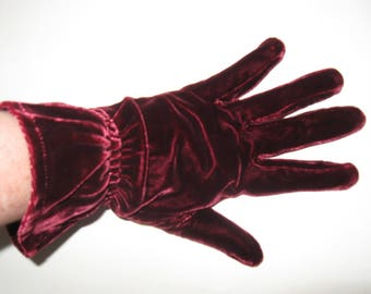 "DECO Vintage 1930s Wine Maroon Velvet Cuff 9"" Wrist GLOVES Edwardian Gatsby Flapper Girl Downton Abbey Jazz"