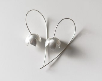 Flower Earrings, Bell Flower Earrings, Sterling Silver Flowers, Nature Jewelry, Wedding, Bride and Bridesmaid,