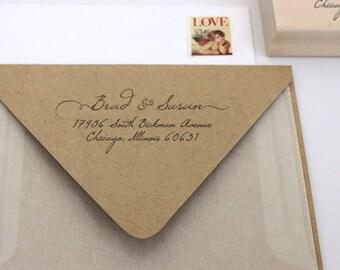 Custom Address Stamp, Self Ink Return Address Stamp, Custom Address Stamps, Self Inking Personalized Stamps, Handwritten Cursive, Weddings