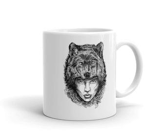 Wolf girl Mug, Print coffee mug