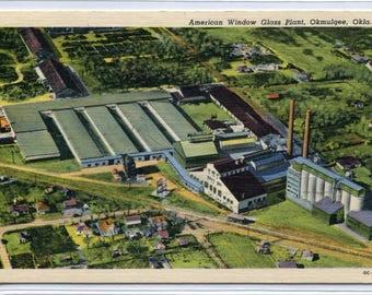American Window Glass Plant Factory Okmulgee Oklahoma 1951 linen postcard