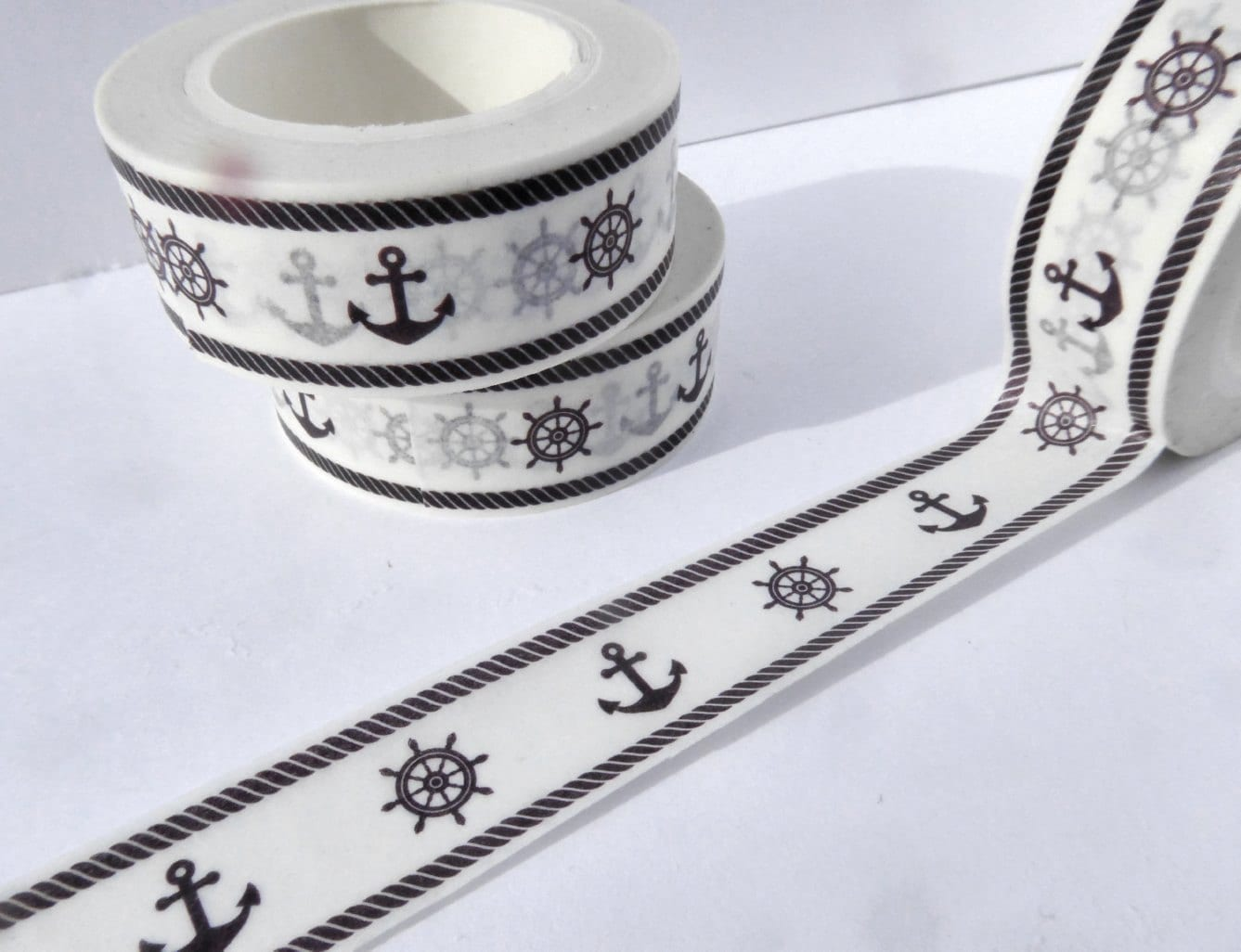 Nautical washi tape anchors and ship steering wheel paper tape nautical washi tape anchors and ship steering wheel paper tape great for scrapbooking paper crafts and decorations boat theme 15mm x 10m jeuxipadfo Images