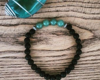 Green Aventurine & Volcanic Stone Bracelet, green and black bracelet, green and black, blue and black bracelet, energy bracelet reiki