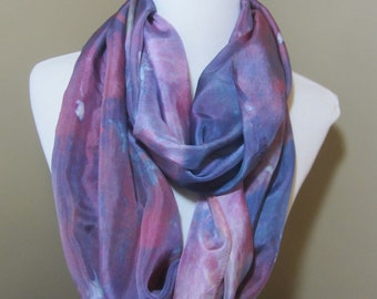 Hand dyed purple and pink wide silk infinity scarf -
