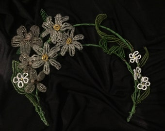 Antique beaded floral tiara headpiece for wedding, party or races.