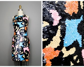 Mosaic Pastel Sequined Dress // Abstract Sequin Trophy Dress by Black Tie Oleg Cassini