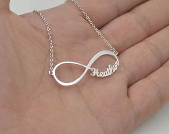 Infinity necklace with names-personalized infinity necklace-custom name gift for women-silver name jewelry