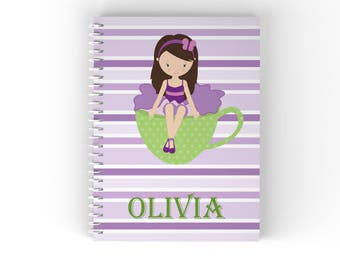 Tea Party Girl Personalized Notebook - Tea Party Girl Green Cup Purple Stripes with Name, Customized Spiral Notebook Back to School