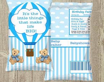 Custimized Teddybear and Hot air balloon in Blue Potato chip treat bag!!