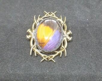 BIRTHDAY SALE! Corinna Butterfly Brooch- purple and orange- Marpesia Corinna- pin
