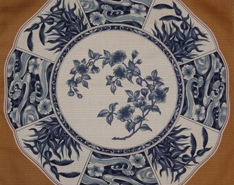 Small Size Cotton Beige 'Imari Porcelain Plate' Motif Furoshiki Japanese Fabric w/Free Insured Shipping