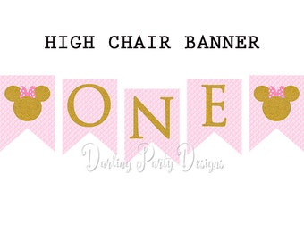 Pink and Gold Minnie Mouse High Chair Banner, ONE Banner, I Am On Banner, 1st Birthday, First Birthday, Instant Download