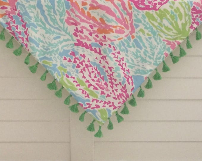 Custom Made Lilly Pulitzer Lets Cha Cha in  Tiki/Shorely Table Throw with Fringe Tassels, Tablecloth 50 x 50,  FREE SHIPPING