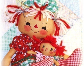 Cloth Doll Pattern, Rag Doll Pattern, PDF Sewing Pattern, primitive doll pattern, raggedy ann annie, instant download, digital download