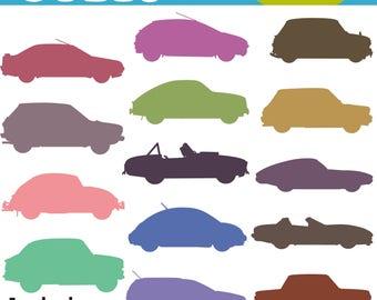 Car Clipart, Colorful Car Clip Art, Vehicle Clipart, Digital Car Clipart, Car Printable, Commercial Use, INSTANT DOWNLOAD
