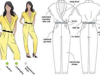 Eliane Woven Jumpsuit - Sizes 4, 6, 8 - PDF sewing pattern for printing at home by Style Arc / House of Pinheiro - Instant Download