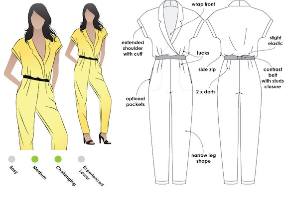 Eliane Woven Jumpsuit Sizes 28 & 30 PDF sewing pattern for