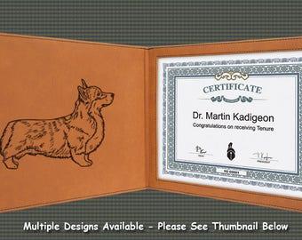 Certificate Cover / Holder -  Corgi Designs