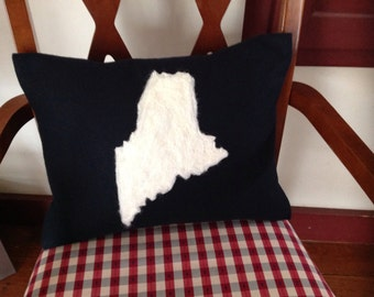 Maine pillow. State of Maine pillow. Needle felted State of Maine pillow breast cancer ribbon. Blueberries. Heart.