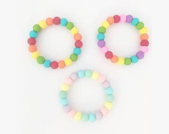 Rainbow Teething Bracelet//Mommy and me//daddy and me// child//sensory//ADHD////matching//teether//natural//pastel