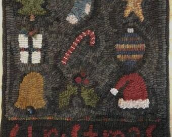 Primitive Folk Art Rug Hooking Pattern~Christmas