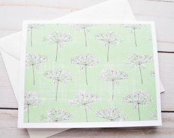Dandelion Note Cards // Set of 6 // Blank Cards // Mint Green // Pastel Stationery // Nature Stationery