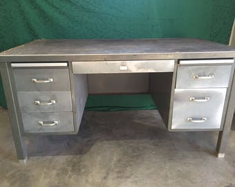Mid Century Tanker Desk- ready for your custom color choice and professional refinish