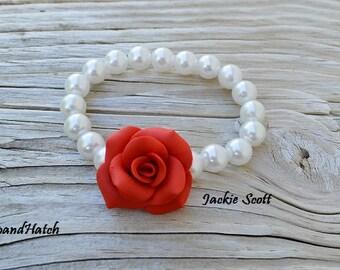 Red Rose Bracelet, Free Shipping