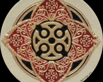Guiding Star - Cast Paper - Irish Art - Scottish - Celtic Wheel