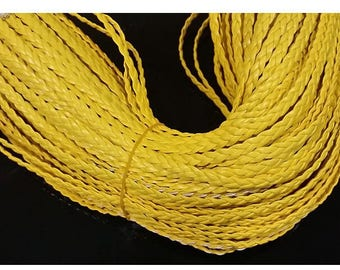 Braided faux leather yellow 50 cm
