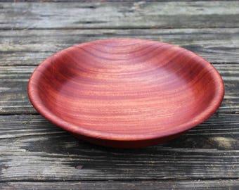 191 - Mahogany Wood Bowl. Hand Turned Wooden Bowl, Deep Reddish Brown Wood, Handcrafted Large Size Salad Bowl, Semi Gloss - Food Safe Finish