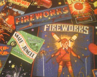 Fireworks Independence Day Fabric  1 yard cotton
