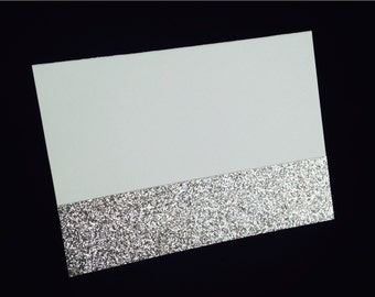 White Matte Blank Folded Placecard with Silver Glitter Accent