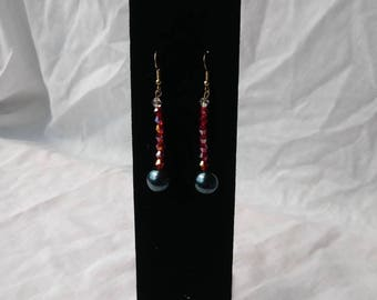 Crystal and pearl dangle earrings