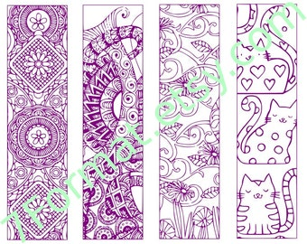 Bookmarks Coloring Printable, scaleable PDF file super quality, Instant Download. 22vs.