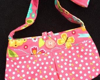 Little girls purse pocketbook tote bag pink flowers butterflies